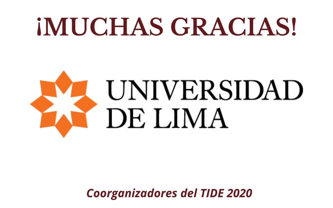 TIDE: La Universidad de Lima se suma como coorganizadora del TIDE 2020