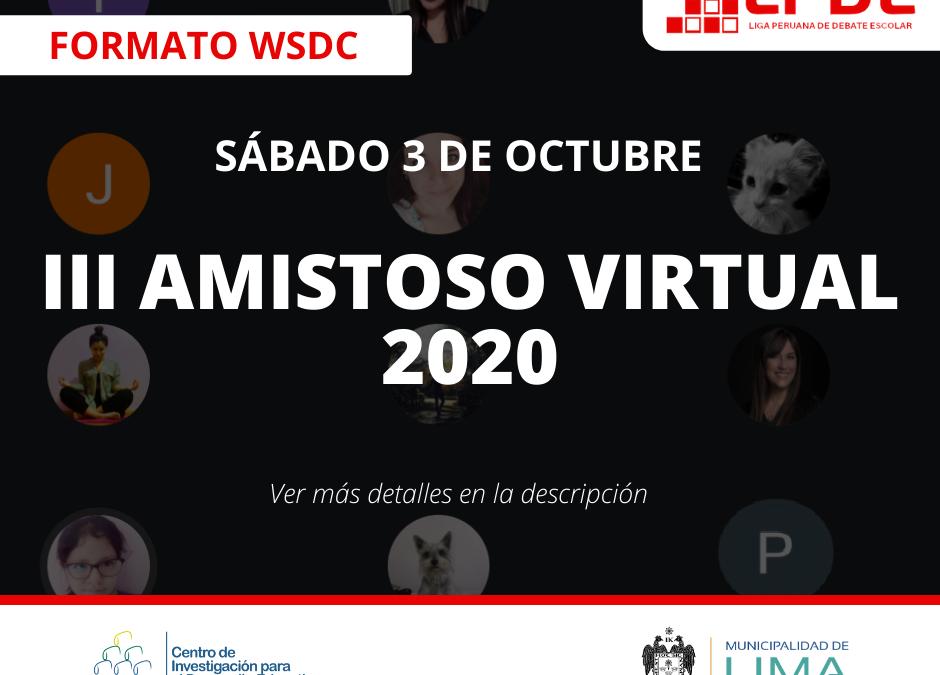 LPDE: TE ESPERAMOS EN NUESTRO III AMISTOSO DE DEBATE ESCOLAR (WSDC)